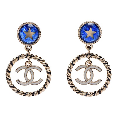 CHANEL 經典雙C LOGO墜飾圓型琉璃五角星穿式耳環(藍X白色-金)