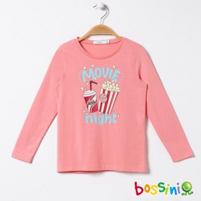 bossini女童-印花長袖T恤04橘紅