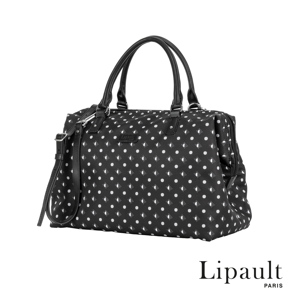 法國時尚Lipault Moonlight Plume波卡點點保齡球包M(白點黑)