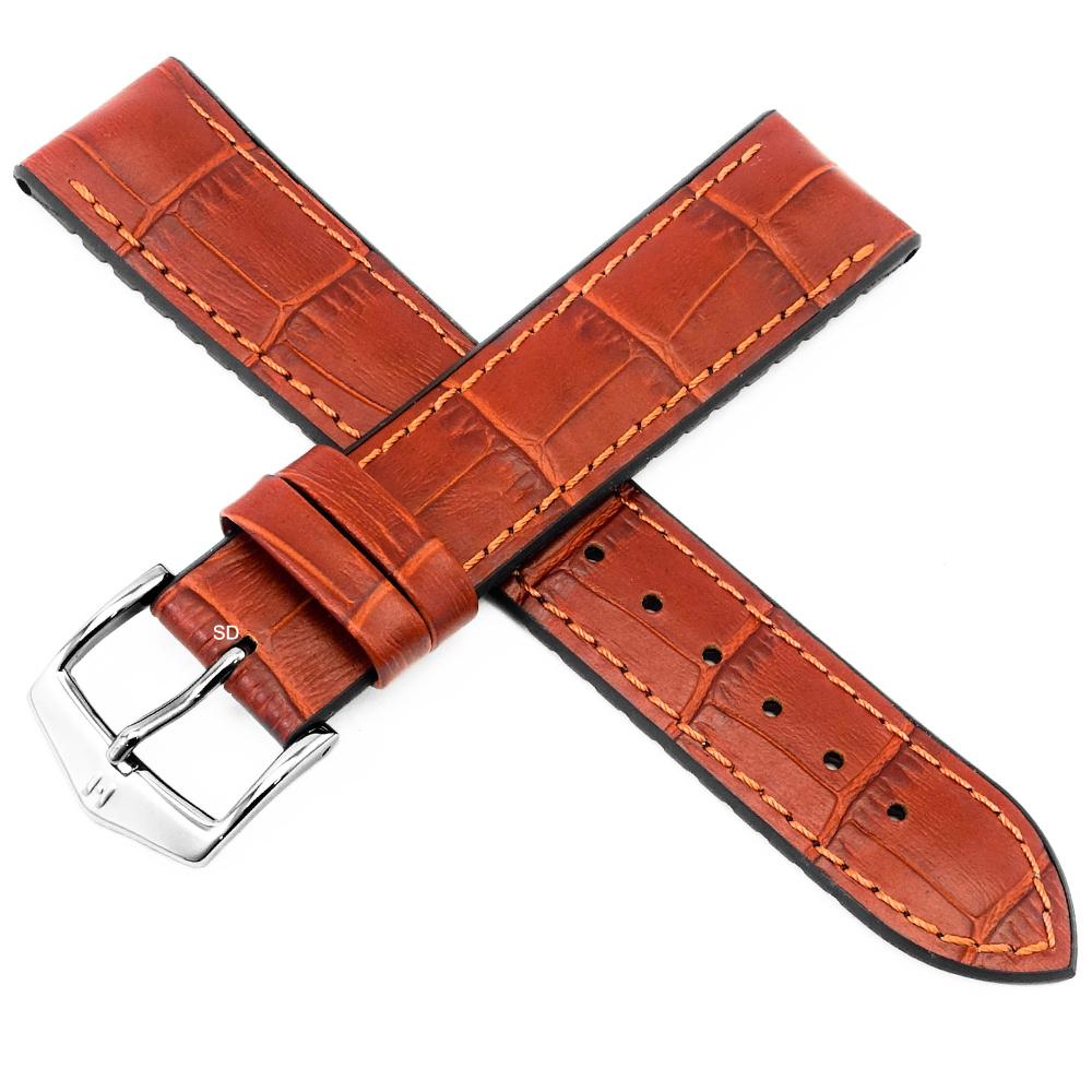 海奕施 HIRSCH Paul L 300米防水 小牛皮橡膠錶帶-紅棕色