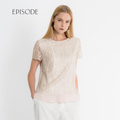 EPISODE - 米色重磅蕾絲刺繡短袖上衣