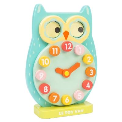 英國 Le Toy Van- Petilou系列啟蒙玩具系列-眨眼貓頭鷹時鐘啟蒙玩具