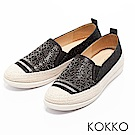 KOKKO - 輕奢幾何雕花麻繩平底休閒鞋-經典黑