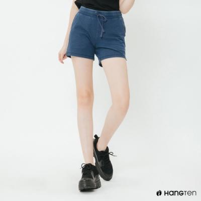 Hang Ten - 女裝 - 素面高腰休閒棉褲 -藍