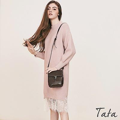 拼接蕾絲針織洋裝 TATA