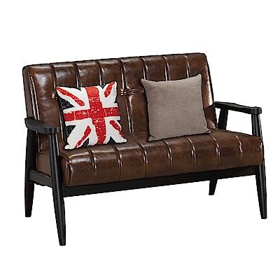 品家居 艾希瑪咖啡皮革實木沙發雙人座(附抱枕)-114x75x77cm免組