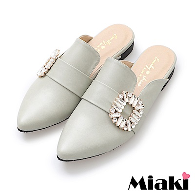 Miaki-穆勒鞋夏日韓風低跟休閒鞋-綠