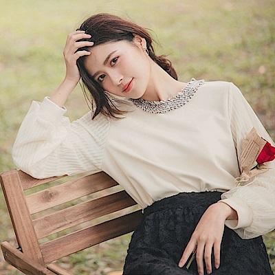 領織帶拼接純色仿麂皮網紗公主袖長袖上衣-OB大尺碼