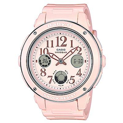 BABY-G 清新典雅系列婉約時尚三眼雙顯休閒錶(BGA-150EF-4B)粉紅色/43m