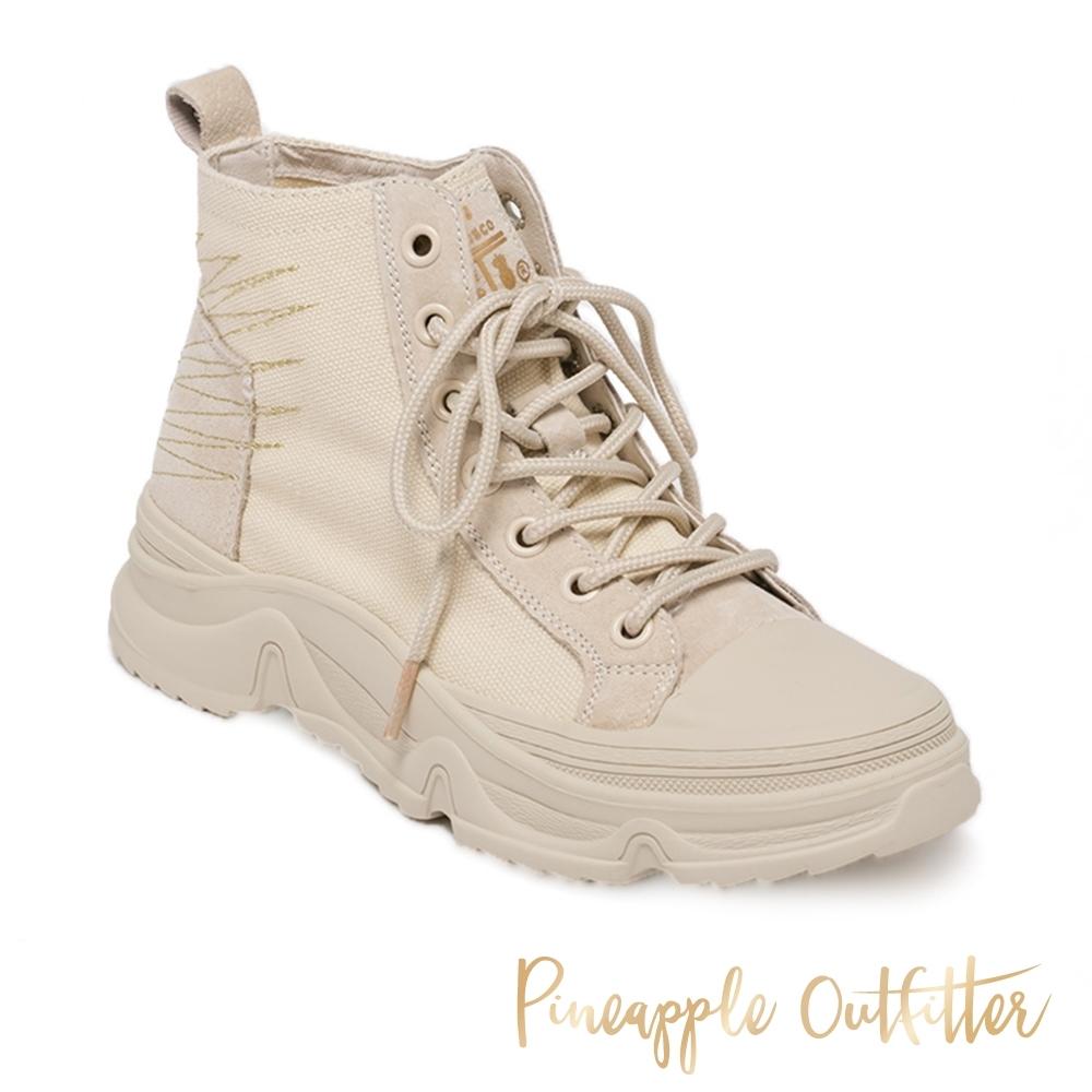 Pineapple Outfitter-BECKY 率性布面綁帶低筒女短靴-米杏色