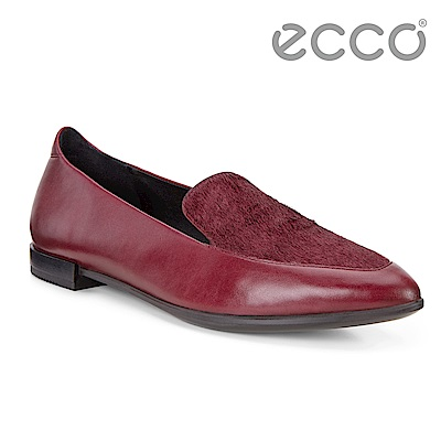 ECCO SHAPE POINTY 時尚尖頭馬毛拼接平底樂福鞋 女-紅