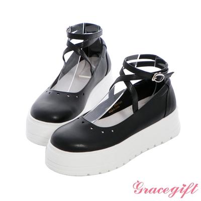 Grace gift X Angelina-聯名標語繫帶厚底芭蕾鞋 黑