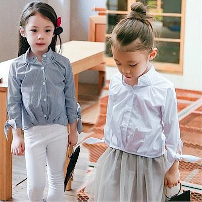 小衣衫童裝  氣質款立領袖口花結長袖襯衫1050904