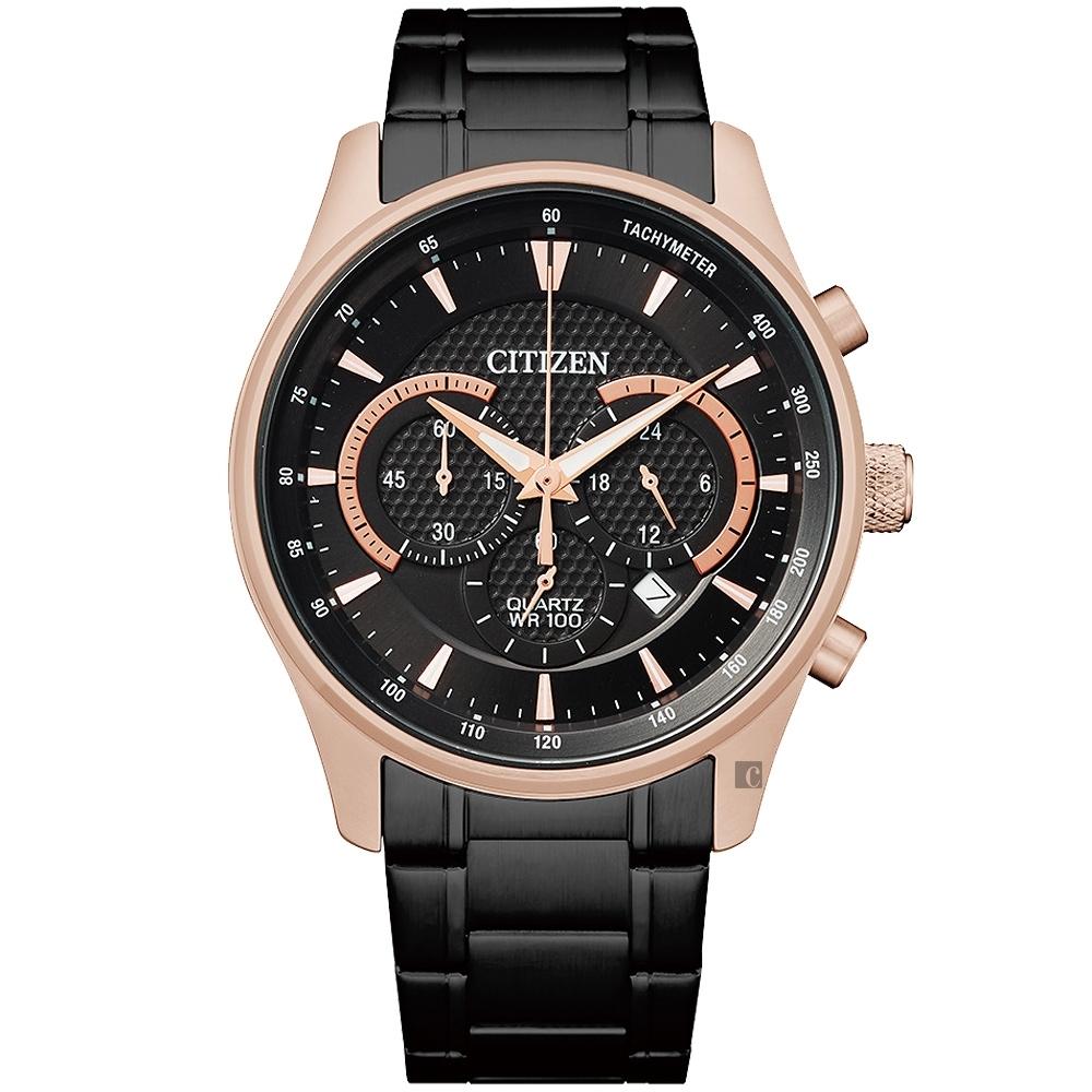 CITIZEN 星辰  Chronograph 計時手錶-玫瑰金/42mm(AN8196-55E)