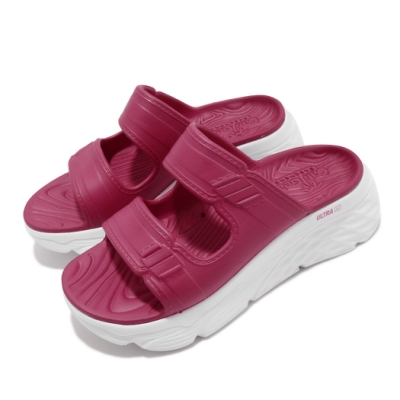 Skechers 涼拖鞋 Max Cushioning 女鞋 輕量 耐磨 厚底 增高 夏日 粉 白 111125MAG
