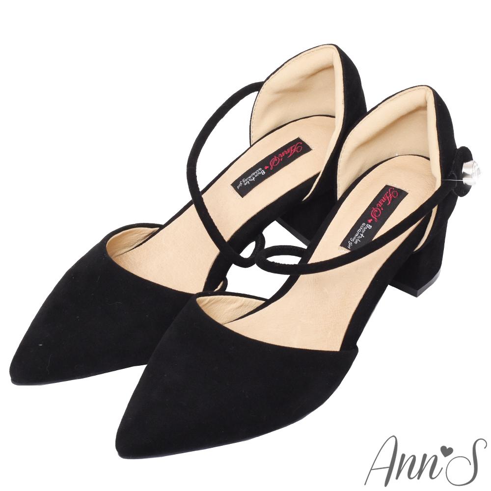 Ann'S強烈女人味-顯瘦斜帶單鑽魔鬼氈粗跟尖頭鞋-黑