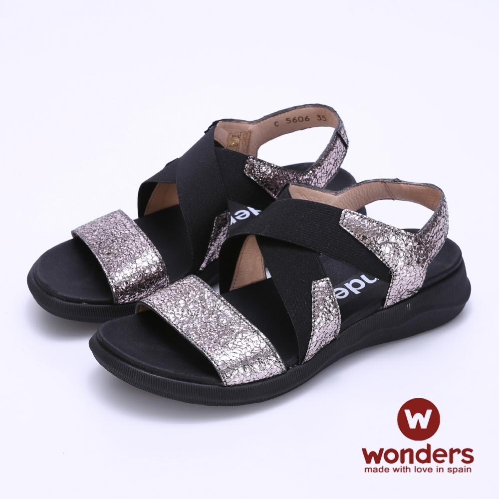 【WONDERS】- 西班牙進口 真皮交叉鬆緊帶涼鞋 -銀色