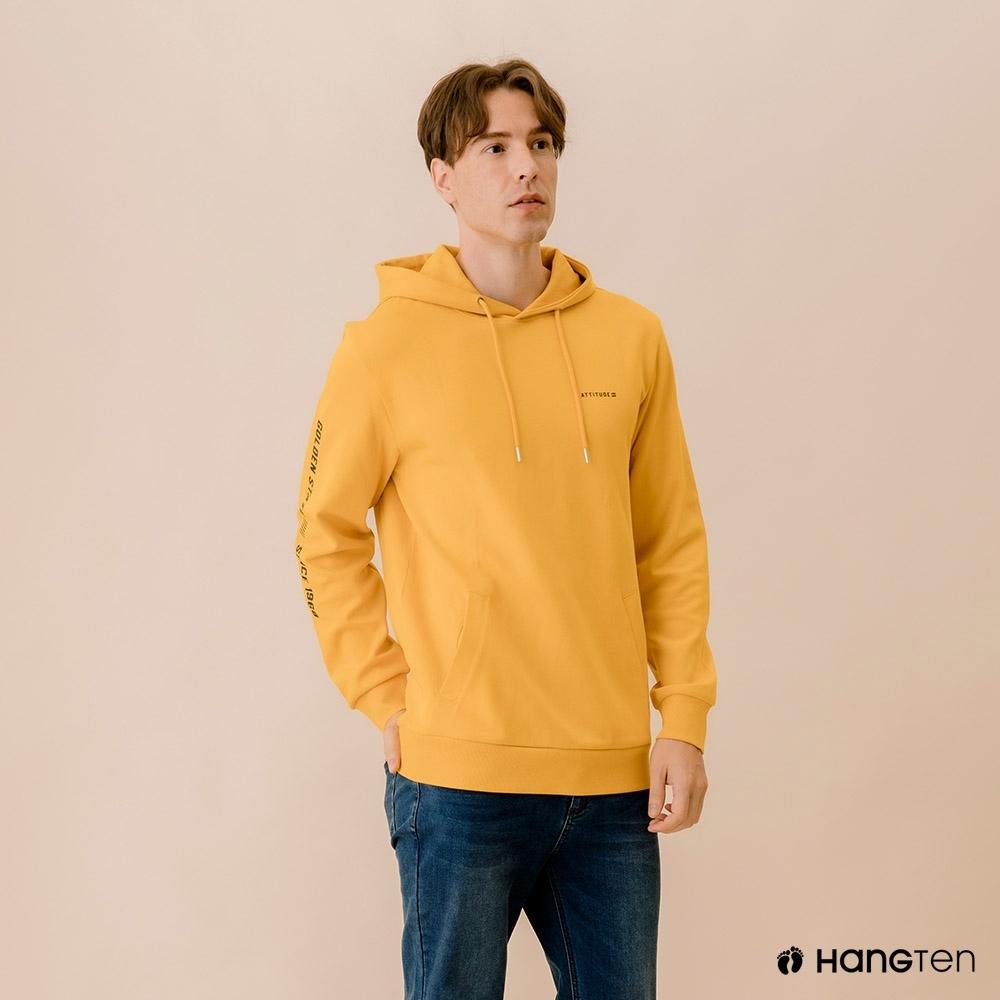 Hang Ten-男裝-潮流文字連帽T恤-黃色
