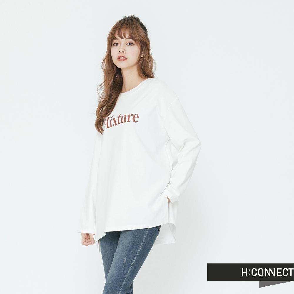 H:CONNECT 韓國品牌 女裝-英文印字圓領長袖T-shirt-白