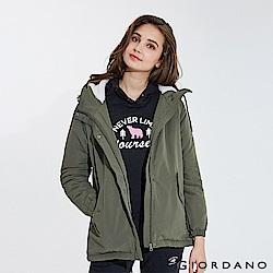 GIORDANO 女裝刷毛鋪棉短版連帽厚外套-50 葡萄葉綠