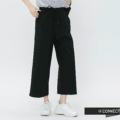 H:CONNECT 韓國品牌 女裝-鬆緊抽繩棉質寬褲-黑