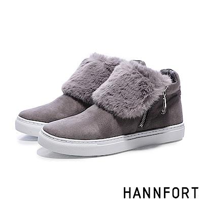 HANNFORT CAMPUS蓬蓬毛絨翻領厚底踝靴-女-暖絨灰