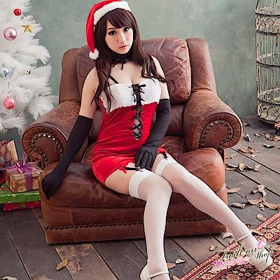 聖誕裝 聖誕節派對服表演服 性感聖誕裝綁帶深V聖誕服含聖誕帽 流行E線