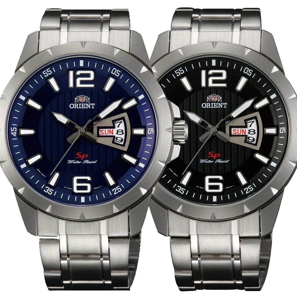 ORIENT東方錶 簡練強悍運動石英腕錶鋼帶(2款可選)x43mm