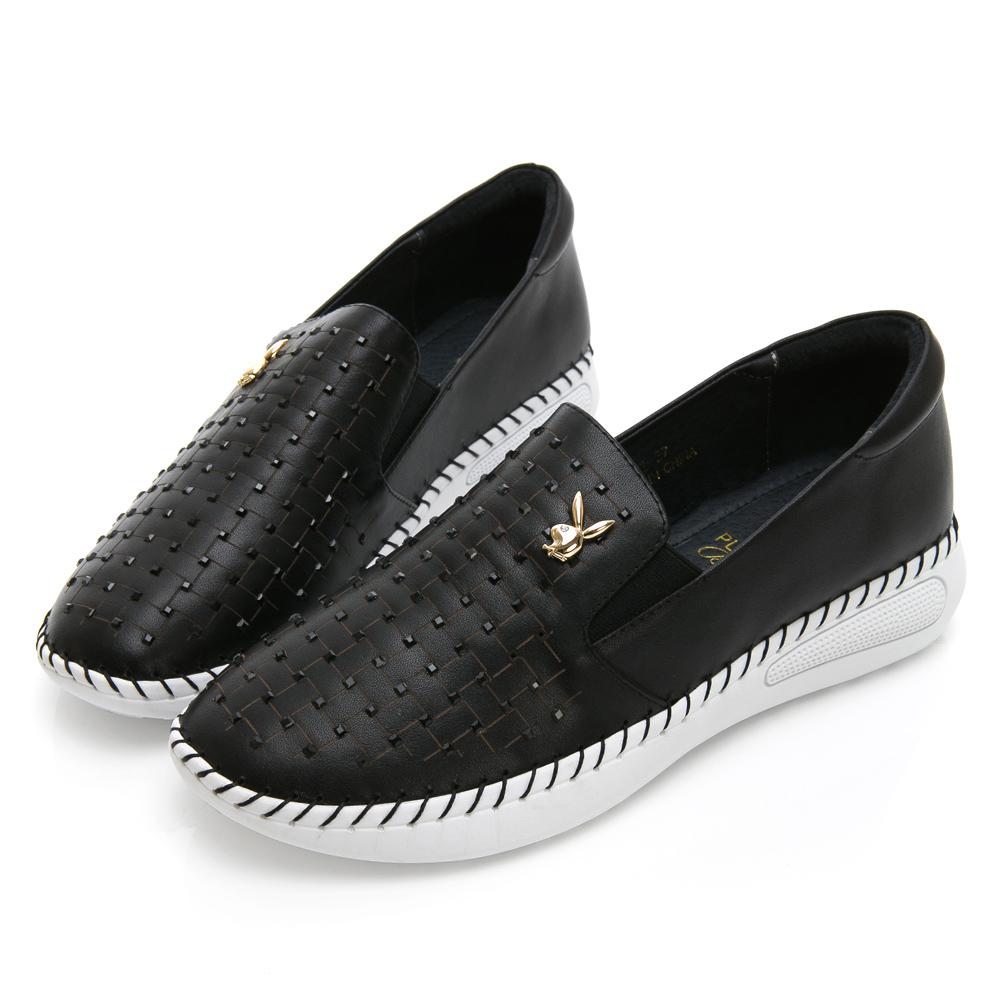 PLAYBOY 水鑽皮革編織感樂福鞋-黑
