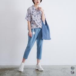 慢 生活 森林系花草印花棉質襯衫- 灰/藍