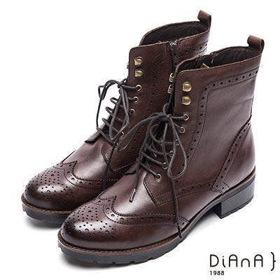DIANA 英倫街頭-個性潮流復古擦色牛津短靴-咖