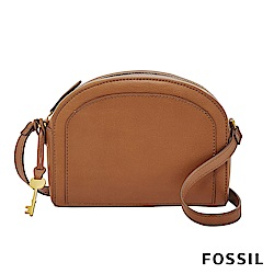 FOSSIL CHELSEA 真皮極簡風斜背饅頭包-駝色