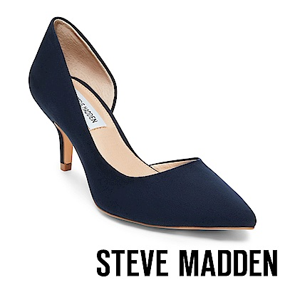 STEVE MADDEN-CAMELOT 絨面尖頭側空跟鞋-絨藍