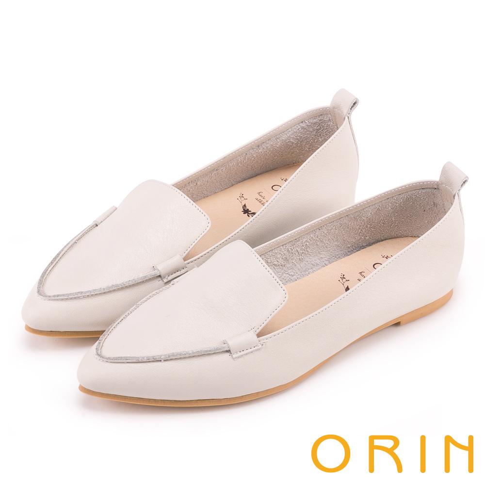 ORIN 優雅品味 柔軟牛皮素面尖頭樂福鞋-米色
