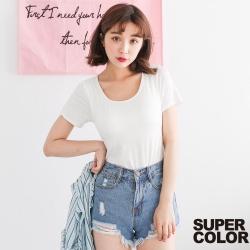 SUPER COLOR 柔軟舒適棉質短袖BRA-T上衣-白色