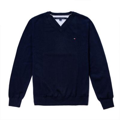 TOMMY 年度經典V領刺繡小LOGO毛衣-深藍色
