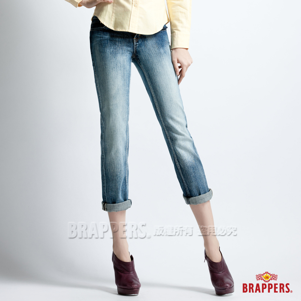 BRAPPERS 女款 Lady Vintage系列-彈性七分漸層反摺褲-漸層藍