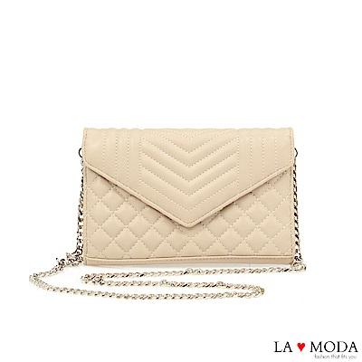 La Moda 人氣小香風菱格紋輕巧信封造型約會晚宴鏈帶包(米白)