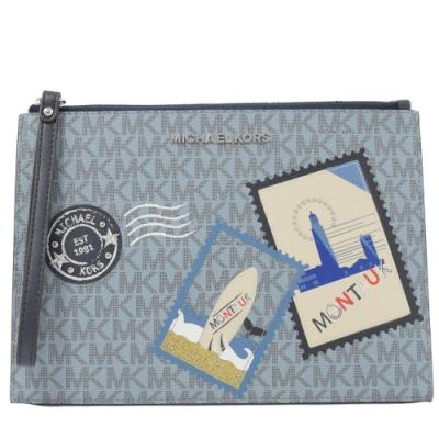 MICHAEL KORS JET SET 郵戳郵票圖樣PVC大手拿包(淺藍)