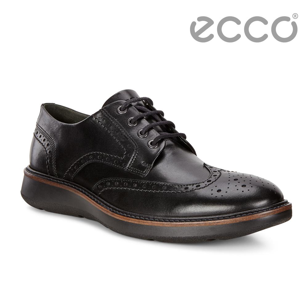 ECCO LHASA時尚雕花舒適緩震紳士正裝鞋 男-黑