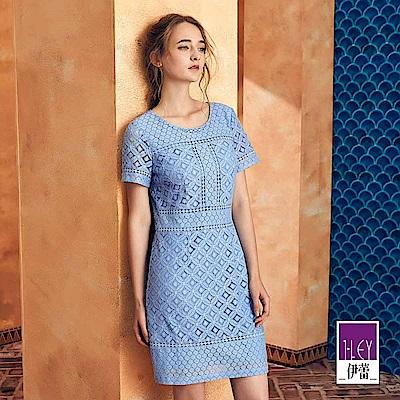 ILEY伊蕾 透氣棉質幾何花卉蕾絲洋裝(藍)