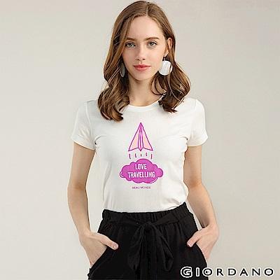 GIORDANO 女裝純棉熱愛旅行印花圓領T恤-21 皎雪