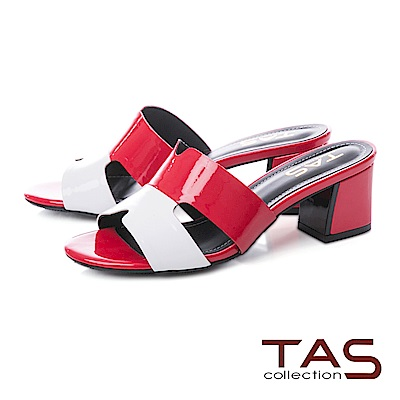 TAS 撞色T字鏤空低跟涼拖鞋-亮眼紅
