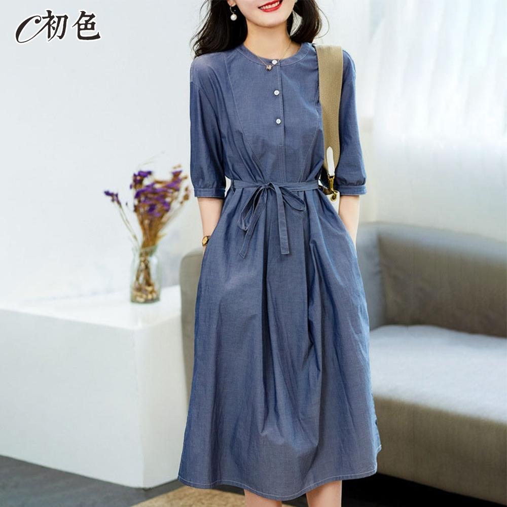 初色  韓版顯瘦繫帶洋裝-藍色-(M-2XL可選)