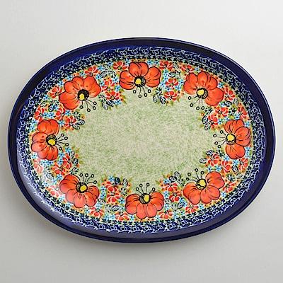 波蘭陶 繽紛紅卉系列 橢圓形餐盤 29cm 波蘭手工製
