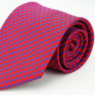 Alpaca 紅底斜藍紋領帶
