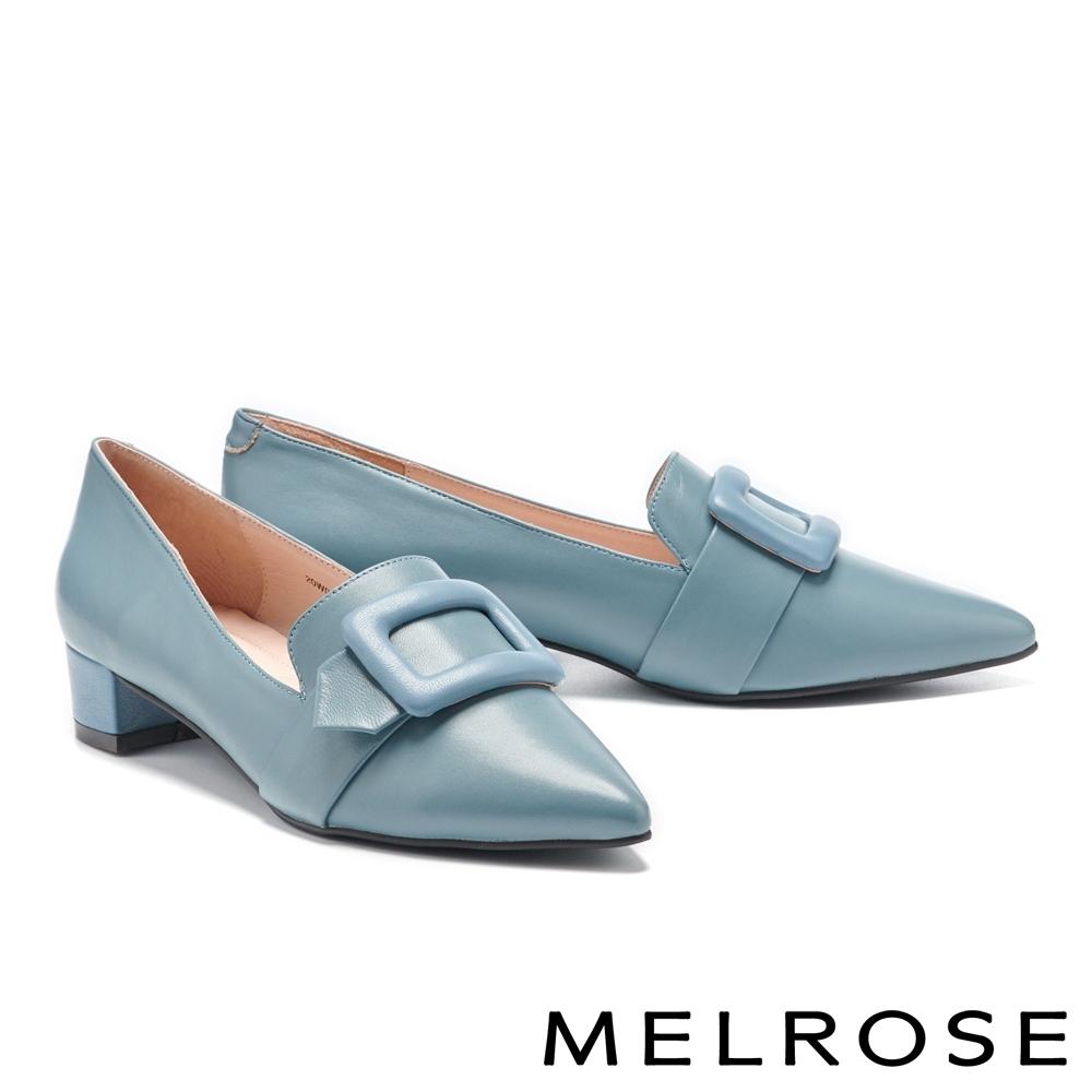 低跟鞋 MELROSE 經典時髦方型釦純色尖頭低跟鞋-藍