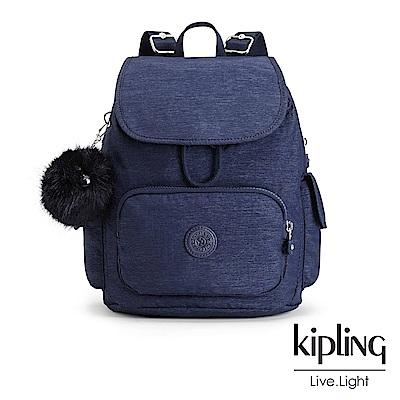 Kipling經典款星空藍掀蓋後背包-CITY PACK S