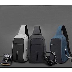 leaper防盜防潑水USB充電立體單肩包胸包 共3色