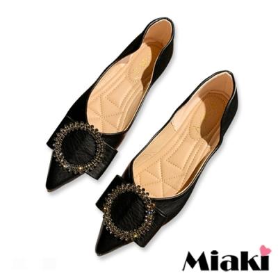 Miaki-娃娃鞋小香水鑽平底尖頭鞋-黑